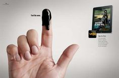 "I really love these poignant ads for the Brazilian iPad magazine app, Veja, all of which feature a single finger ""dipped"" in a different news story after Advertising Slogans, Print Advertising, Creative Advertising, Advertising Campaign, Marketing And Advertising, Advertising Space, Ads Creative, Creative Design, Art Director"