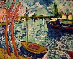 Maurice de Vlaminck (French, Fauvism, 1876–1958): The Seine at Chatou, 1906. Oil on canvas, 82.6 x 101.9 cm. Metropolitan Museum of Art, New York, NY, USA.  Though Henri Matisse and André Derain were predominant among the group of artists working in the style of les Fauves (the wild beasts), Vlaminck was a principal figure in the Fauvism Movement (1904-1908).    Fauvism