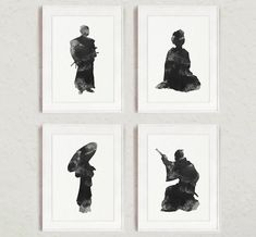 Samurai and Geisha Silhouette set of 4, Woman and Man Sign Wall Art Print, Black and White Living Room Decor, Illustration Women Figurine
