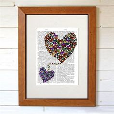 Dotty Dictionary - Two Butterfly Hearts, impression sur page ancienne, 20,5x27cm