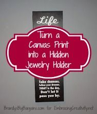 Turn a Canvas Print into a Hidden Jewelry Holder - Embracing Creativity Hidden Jewelry Storage, Jewellery Storage, Diy Baby Quilting, Budget Flowers, Religious Christmas Cards, Diy Jewelry Holder, Helpful Hints, Handy Tips, Crafts To Sell