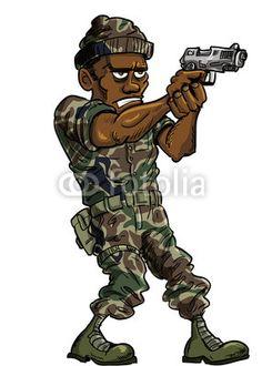 Cartoon soldier with a hand gun