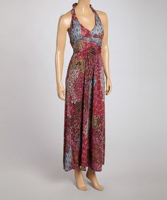 Another great find on #zulily! Pink Peacock Halter Maxi Dress by Shoreline #zulilyfinds