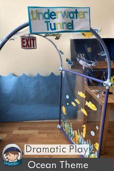 Aquarium Dramatic Play for Preschool and Pre-k, Kindergarten (or Ocean), Camping Dramatic Play, Dramatic Play Themes, Dramatic Play Area, Dramatic Play Centers, Preschool Dramatic Play, Ocean Lesson Plans, Kindergarten Activities, Math Literacy, Abc Activities