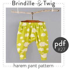Modèle de bébé bambin harem pants pdf, photo tutoriel - tailles 0M 6 t-modèle 27