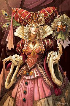 Characters in Mascarade by B. Tarot, Carmilla, Female Characters, Fictional Characters, Masquerade Ball, Manga Anime, North America, Fantasy Art, Character Design