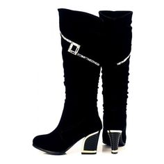 Black Metal Detail Chunky Heel Knee High Boots ($38) ❤ liked on Polyvore featuring shoes, boots, mid-calf boots, black knee-high boots, black mid calf boots, mid calf high heel boots, black high heel boots and black knee high heel boots