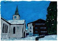 Grächen Zwitserland helikopters vliegen onder je door schilderij dorpsgezichtgemengde technieken op papier ad van den boom Saas Fee, Mountain Paintings, Mansions, House Styles, Home Decor, Paper, Decoration Home, Room Decor, Mountain Drawing