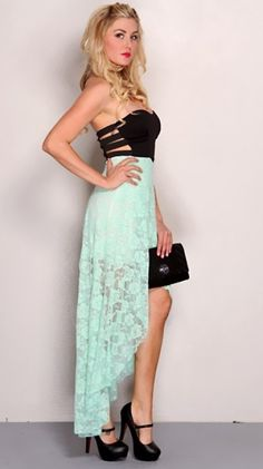 Mint Black Strapless Floral Lace High Low Hem Sexy Party Dress