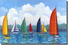"Harris Nautical Sailboats Ceramic Tile Mural Backsplash 25.5"" x 17""- POV-HHA015 #ArtworkOnTile"