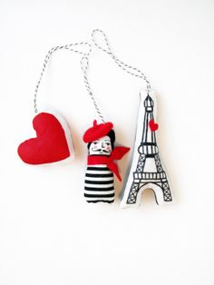"""""""Paris je t'aime"""" ornaments I'm ordering for the rearview mirror of my little red car"""