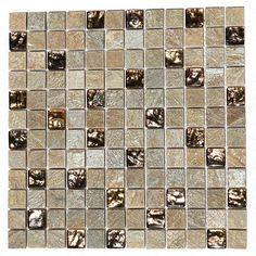 "Kellani Paragon 12"" x 12"" Glass Mosaic Tile in Golden Honey"
