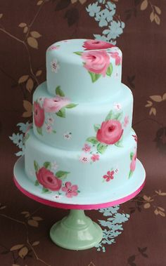 So pretty - handpainted wedding cake