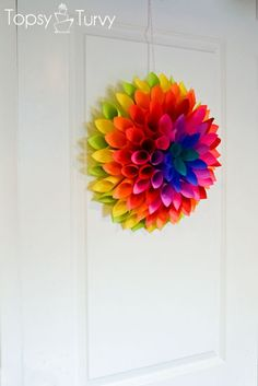 neon-Paper-dahlia-hanging by imtopsyturvy.com, via Flickr