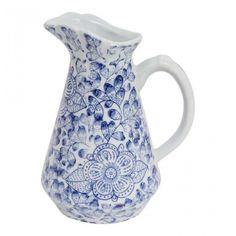 Claymont Leaf Jug 16x13x20.5 - Blue & White Ceramics - Decorator Accents - Homewares Ceramic Figures, Traditional Design, Decorative Items, White Ceramics, Porcelain, Blue And White, Leaves, Elegant, Accessories