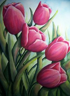 Easter Painting - Easter Tulips by Conni  Reinecke