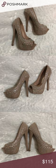 Cream Bejeweled Heels 6 inches bejeweled heels. Super cute and stylish! Will go with any formal/casual outfits! Worn once to prom and prom after party, the bottom got dirty from the party. Still in great condition! Want to keep them but a little to small for me now Shi Shoes Heels