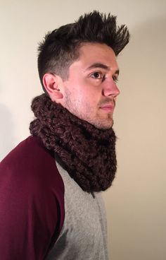 Men's Chunky Cowl Scarf Thick Crochet Bulky by CalmBeforeDawn