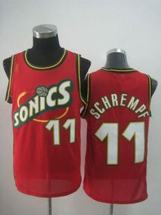 6946a8bfb57 Thunder  11 Detlef Schrempf Red SuperSonics Throwback Stitched NBA Jersey