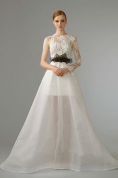 A-Line Wedding Gown with Illusion Lace Sleeve, Black Sash and Sheer Skirt by The Wedding Present  SingaporeBrides Fall/Winter 2014 Wedding Gown Lookbook