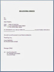 Latest job relieving letter format business matters pinterest relieving letter format from employer spiritdancerdesigns Image collections