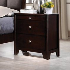 Dark Brown Nightstand Wooden Transitional Night Stand Bedside Furniture Bed #Coaster #Transitional