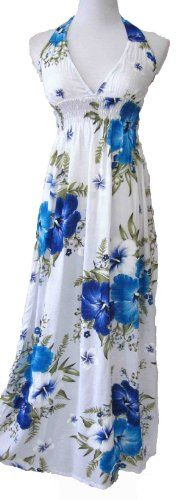 I love this for my sister's wedding -the grace eboutique Halter tropical bright hisbicus smock summer beach casual ankle length party dress, Size S -M, white light blue the grace eboutique,http://www.amazon.com