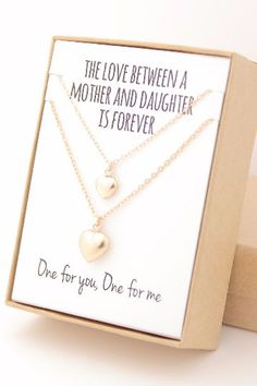 One for you, and one for me. Such a sweet gift to share between mother and daughter! Each necklace is made from gold-filled hollow hollow heart charms on 14K gold-filled chain and findings. The 14K go