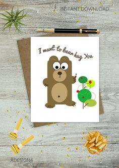 Bear - Love - Valentine - Birthday Cards - Greeting - Geometric Drawing - E-Cards - Instant Download - Printable Image - Digital Art - DIY - pinned by pin4etsy.com