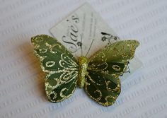 Green and Gold Butterfly Hair Clip on Etsy by Simply Sae's