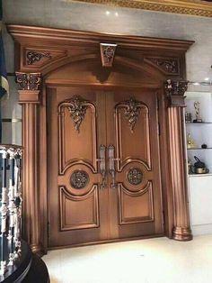 House Main Door Design, Wooden Front Door Design, Double Door Design, Door Gate Design, Wood Front Doors, Door Design Interior, Modern Wooden Doors, Flur Design, Porte Cochere