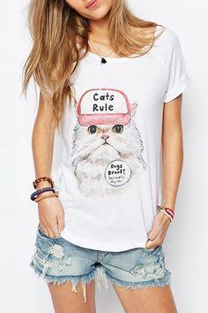 Basic Kitten Print Raglan Sleeve Tee - OASAP.com