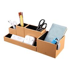 VPACK Leatherette 5-Compartment Multifunctional DIY Organizer. Cleverly designed all-in-one space saving desktop organizer is the perfect companion for students, working professionals and homemakers 5 divided compartments design to organize all your writing instruments, letters, car keys, etc.  About $16, Amazon.