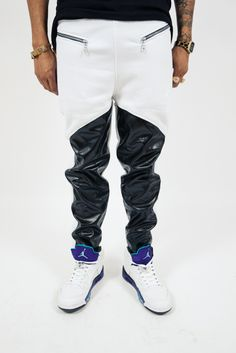 Hexagon Vegan Leather Sweat Pants