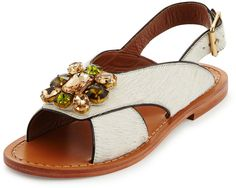 Marni Jeweled Calf-Hair Flat Slingback Sandal, Natural/White