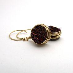 Red druzy earrings, garnet red jewelry, raw druzy jewelry, rough drusy earrings, gold filled red dangle earrings, burgundy drop earrings by FelisaJewelry, #druzy #earrings #red