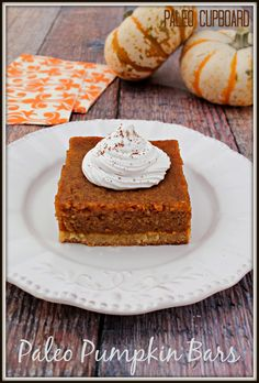 Paleo Pumpkin Bar recipe - These pumpkin bars are moist, delicious and easy to make. The frosting is optional and the bars still taste great without it. #food #paleo #grainfree #glutenfree #dairyfree #dessert #pumpkinbar #pumpkin