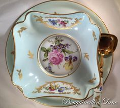Limoges Tray Bowl & Ladle with Dresden by BougainvilleaLane