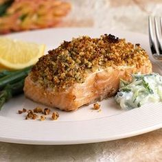 Baked Salmon With Roasted Pecan Crust