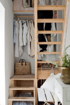 House Organization Ideas this small wooden staircase also works as tiny closet (via. (my ideal home.) this small wooden staircase also works as tiny closet (via Design*Sponge) could be used in tiny house design in place of ladder? Tiny Spaces, Small Apartments, Stairs In Small Spaces, Studio Apartments, Open Spaces, Huge Houses, Small Houses, Tiny Closet, Closet Space