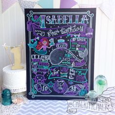Little known fact... I actually AM a mermaid. If I spend too long away from the ocean I shrivel up and become something resembling the grinch. Soooo... I was extra excited to draw Isabella's mermaid first birthday chalkboard for her under the sea party!