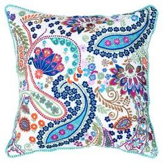 """Cotton slub pillow with a multicolor paisley motif and contrasting border.  Product: PillowConstruction Material: Cotton slub coverColor: White and multiFeatures:  Insert includedApplique, piecing, embroidery and cut-out detailsHidden zipper Dimensions: 18"""" x 18""""Cleaning and Care: Hand wash in cold water and lay flat to dry"""