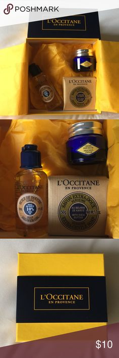 L'OCCITANE Travel Set Brand New Never Used L'OCCITANE Travel Set. Items Included: Anti-Aging Immortelle Precious Cream, Shea Butter Body Shower Gel, and Shea Butter Bar in the Gorgeous Citrus Verbena! All packed in a beautiful L'OCCITANE tissue and box. L'OCCITANE Makeup