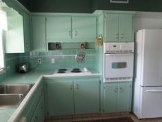 Original Gladding McBean Hermosa tile and Coronet Kitchens cabinets in our 1955 Florida ranch - Mike in FL