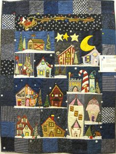 """Christmas at the Prides', by Helen Pride First Prize, Wall Quilts. Pattern Name: Santa's Village in Applique. Wall Quilt 39 x 51 Machine Pieced, Hand Appliquéd, Machine Quilted, Hand Embellished From """"Piece O' Cake Designs"""" book """"Welcome to the north pole"""