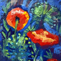 "ON SALE Chanticleer Poppies and Allium mini Encaustic Wax 6"" square Original  Expressionist Painting by MoniqueKenSarkessian on Etsy"