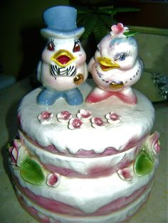 Or Lefton?. Ceramic Wedding Cake with Bride & Groom Blue Birds. This is a very unusual item. Other then crazing this piece is in excellent condition with no broken flowers or leaves. It stands approx. | eBay!