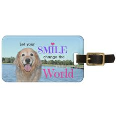 Golden Retriever Change the World Travel Bag Tag by #AugieDoggyStore
