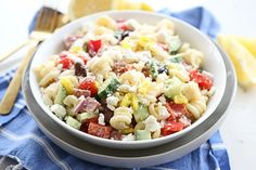 Greek Pasta Salad in Serving Bowl Side Dish Recipes, Soup Recipes, Salad Recipes, Healthy Recipes, Greek Salad Pasta, Soup And Salad, Homemade Greek Dressing, Main Dishes, Side Dishes