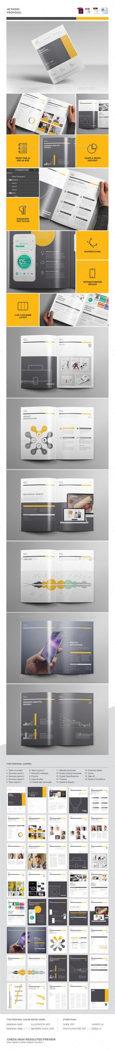 Proposal 40 Pages Template EPS, InDesign INDD #design Download: http://graphicriver.net/item/proposal-template/13138507?ref=ksioks